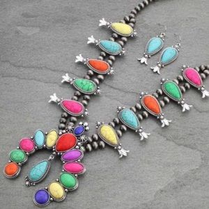 Navajo Pearl Multi Color Squash Blossom Necklace